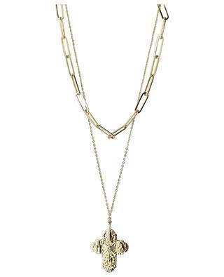 Double golden necklace with cross pendant MOON C° PARIS