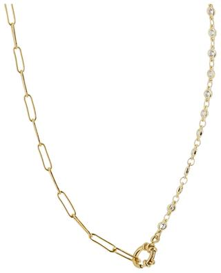 Necklace in oval links and white crystals MOON C° PARIS