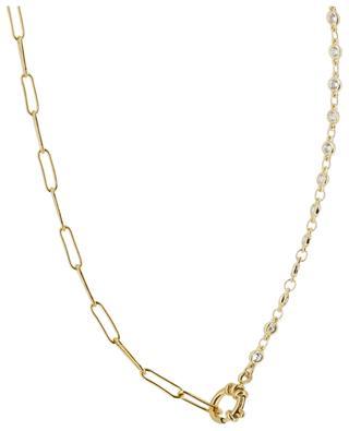 Halskette aus ovalen Gliedern und weissen Kristallen MOON C° PARIS
