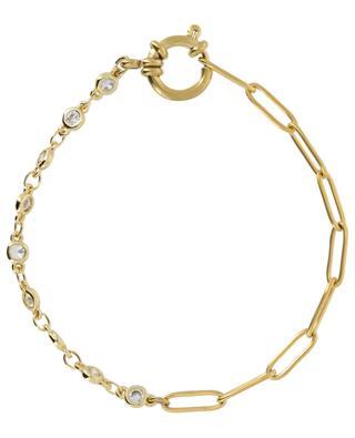 Golden bracelet with white crystals MOON C° PARIS