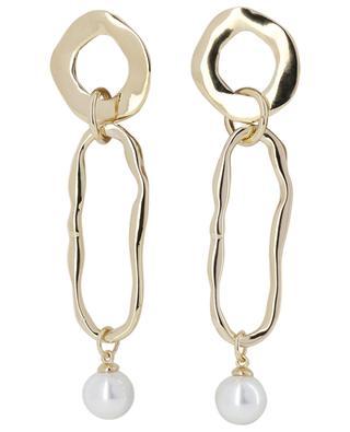 Lange goldene Ohrringe mit Perle MOON C° PARIS