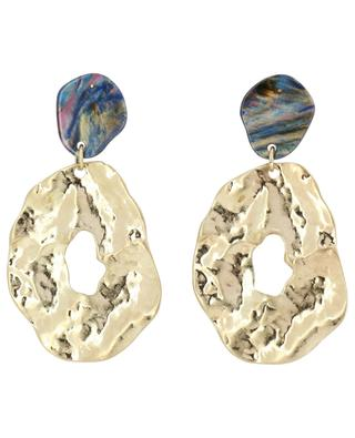Multicolour acetate and golden metal earrings MOON C° PARIS