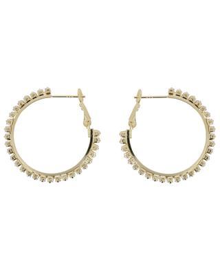 Golden hoop earrings with white crystals 3 cm MOON C° PARIS