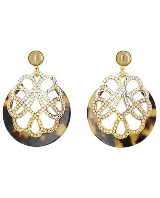 Vog Bis PM golden stud earrings with acetate and crystals GAS BIJOUX