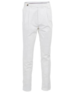 Leisure Fit white gabardine trousers with double waistband tuck BRUNELLO CUCINELLI
