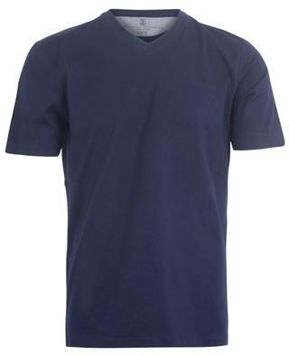 Navy blue cotton V-neck T-shirt BRUNELLO CUCINELLI