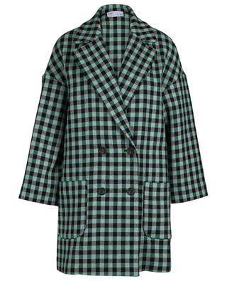 Oversize-Mantel aus kompakter Wolle mit dreifarbigen Vichy-Karos RED VALENTINO