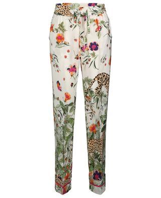 Hose aus bedruckter Seide mit weitem Bein Felines in the Flower Jungle RED VALENTINO
