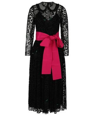 Langes Kleid mit Leoparden-Flockprint und Gürtel RED VALENTINO