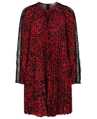 Langärmeliges Kleid mit Leopardenprint und Spitze RED VALENTINO