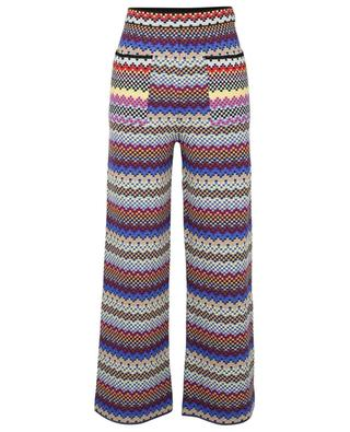 Wide-leg high-rise knit trouses with multicolour chessboard patterns M MISSONI