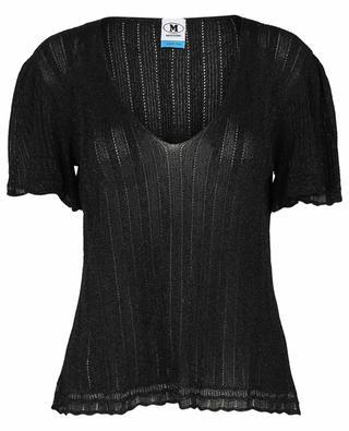 Sparkling A-line short-sleeve openwork V-neck jumper M MISSONI