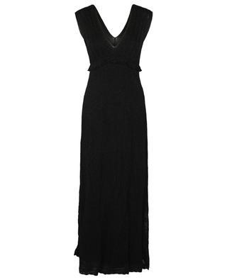 Long sleeveless openwork Lurex knit empire dress M MISSONI