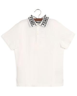Cotton piqué polo shirt with logo collar FENDI