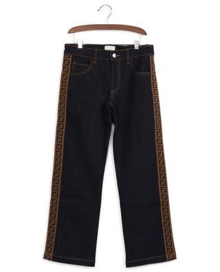 Cotton-blend logo stripe jeans FENDI