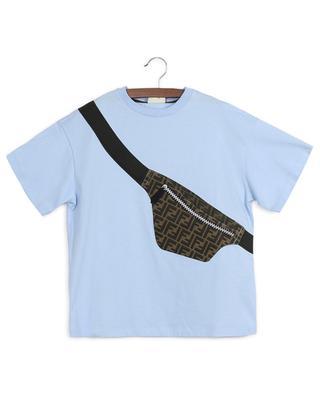 Oversize-T-Shirt aus Baumwolle mit Schultertaschenprint FENDI