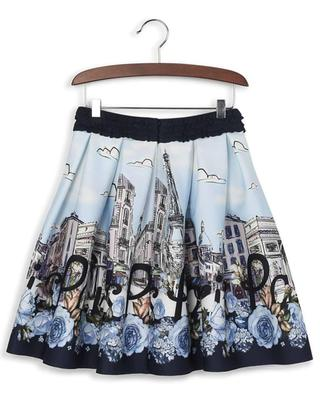 Gathered Paris print skirt MONNALISA