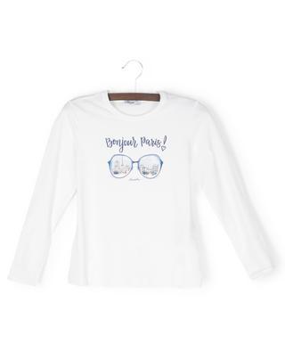 Verziertes Langarm-T-Shirt Bonjour Paris MONNALISA