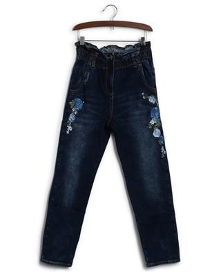 Paperbag jeans with embroidered flowers MONNALISA