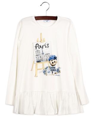 Paris dog print jersey peplum top MONNALISA