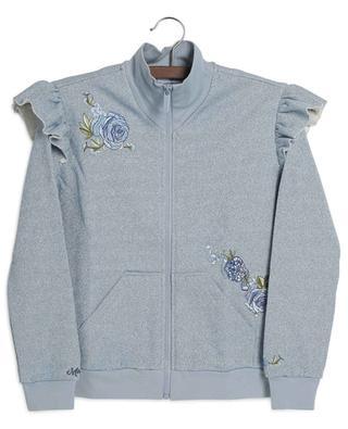 Flower embroiderd ruffled glittering track suit MONNALISA