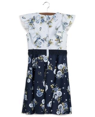 Rose Parisien floral neoprene dress with ruffles MONNALISA