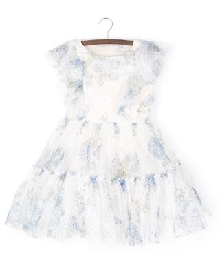 Sleeveless tulle dress with blue rose print MONNALISA