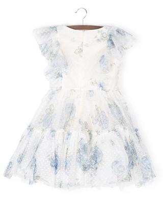 Sleeveless tulle dress with blue rose print MONNALISA