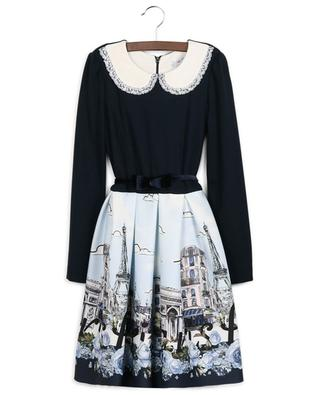 Paris, Paris, Paris printed flared bi-material dress MONNALISA