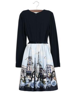 Ausgestelltes Matrialmix-Kleid mit Print Paris, Paris, Paris MONNALISA
