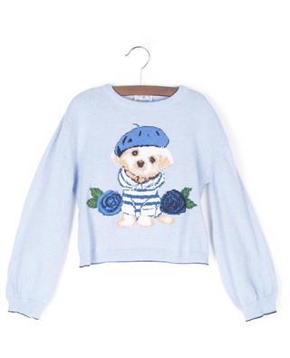 Jacquard-Pullover mit Hündchen und Rosen MONNALISA