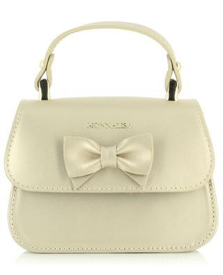 Leather handbag with decorative bow MONNALISA