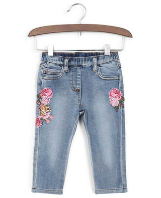 Slim fit jeans with embroidered flowers MONNALISA