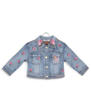 Denim jacket with embroidered roses MONNALISA