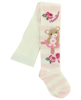 Cotton blend tights with ballerina bear print MONNALISA