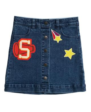 Varsity Badges buttoned denim skirt STELLA MCCARTNEY KIDS