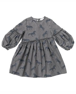 Kleid aus bedrucktem Chambray Bleached Horses STELLA MCCARTNEY KIDS