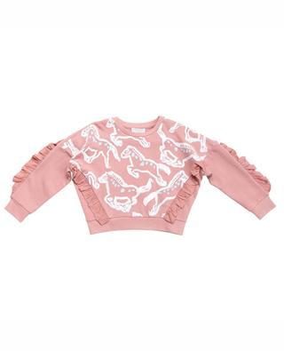 Bedrucktes Sweatshirt mit Rüschen Horses STELLA MCCARTNEY KIDS