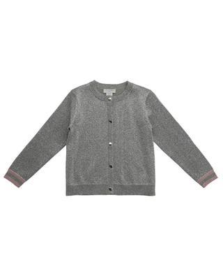 Cardigan boutonné en coton bio et lurex argenté STELLA MCCARTNEY KIDS