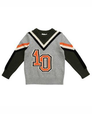 Jacquard-Pullover aus Baumwolle und Wolle Varsity STELLA MCCARTNEY KIDS