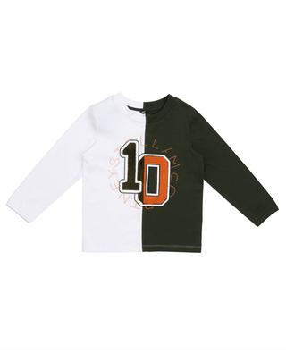 Zweifarbiges Langarm-T-Shirt Varsity Logo STELLA MCCARTNEY KIDS