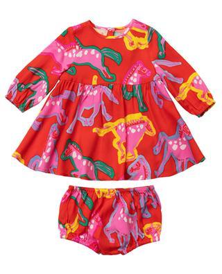 Kleid aus Twill mit Bloomers und Print Painted Horses STELLA MCCARTNEY KIDS