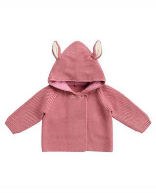 Bunny hooded garter stitch cardigan STELLA MCCARTNEY KIDS