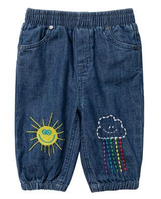 Bestickte Jeans Rainbow Cloud & Sun STELLA MCCARTNEY KIDS