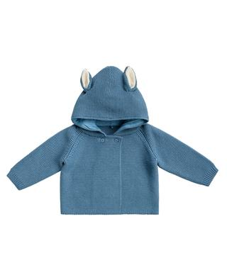 Garter stitch cardigan with ear adorned hood STELLA MCCARTNEY KIDS