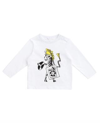 T-shirt à manches longues en coton bio imprimé Zebra DJ STELLA MCCARTNEY KIDS