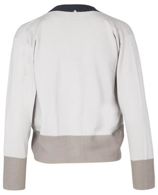 Tri-colour button-down cardigan in virgin wool, silk and cashmere blend LORENA ANTONIAZZI