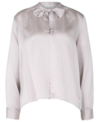 Blouse à lavallière en satin de soie cloquée My Shirt Perla FORTE FORTE