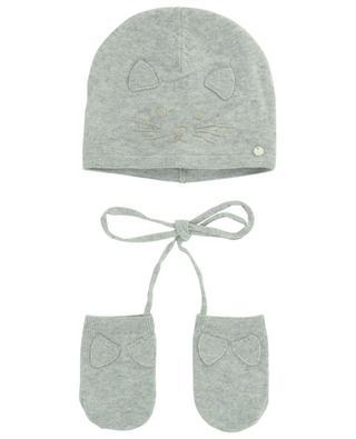 Set d'un bonnet et de gants à motif chat TARTINE ET CHOCOLAT