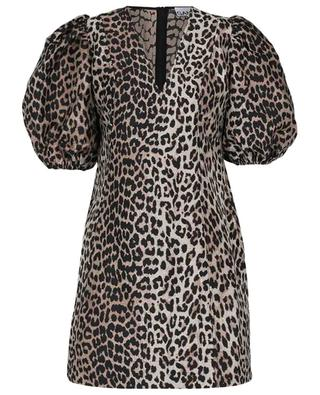 Leopard jacquard balloon sleeve mini dress GANNI
